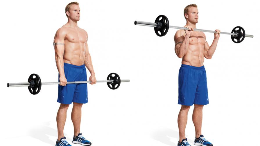 Reverse Grip Curls Holding Bar Gain Biceps And Tricep...