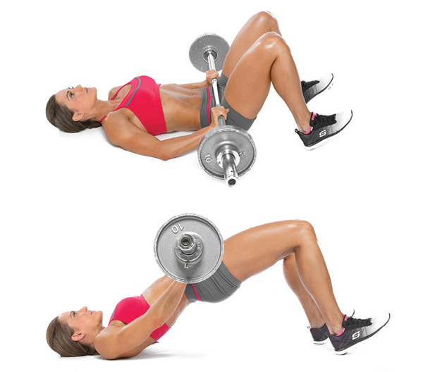 Barbell glute bridge - GymGuider.com