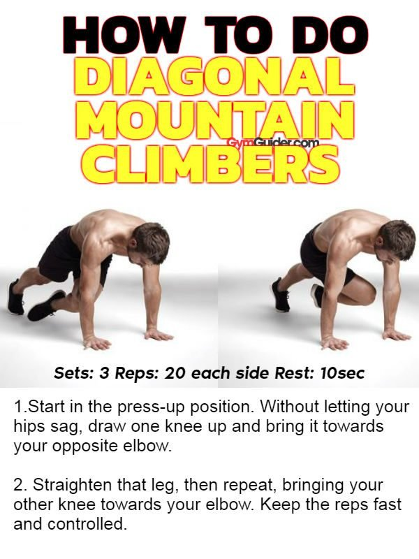 Diagonal Mountain Climbers sixpack