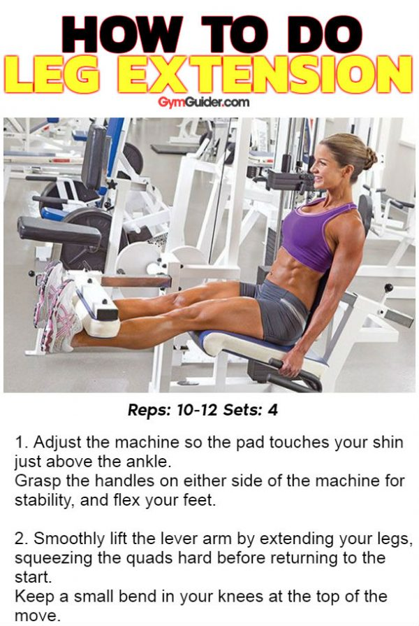 Leg extension exercise targets the quads shapes and adds power with definition