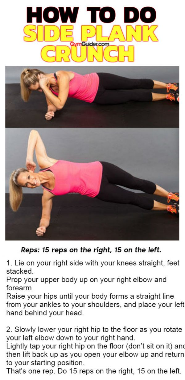 Side plank crunch explosive defined abs with posture strength arm toning and leg building