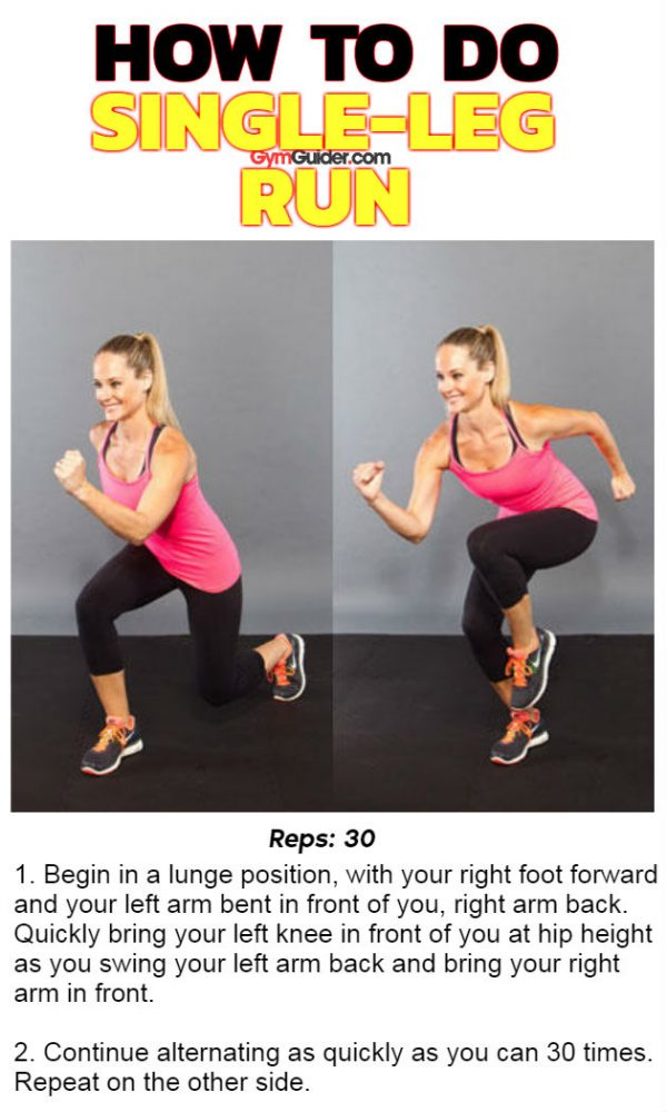 Single Leg Run exercise for shaping glutes and legs home workout