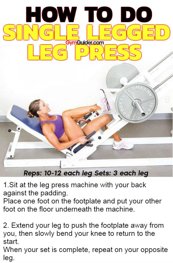 Single legged leg press to tone and strengthen your quads and glutes