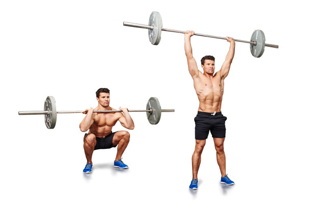 Barbell front squat to shoulder press