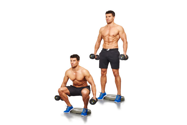 Cyclist squat with dumbbells