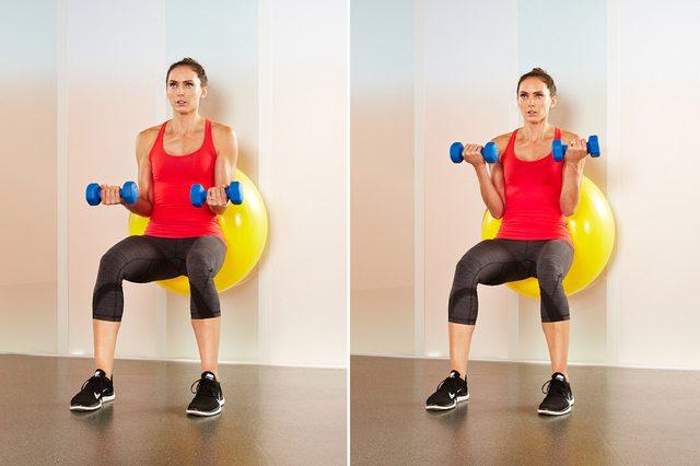 Stability-Ball Biceps Curls